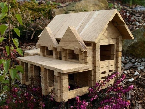 Items similar to wood toy house kids wood blocks for Building classic small craft