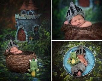 Crochet Newborn Knight & Dragon Set