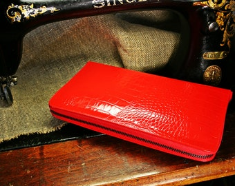 Red leather clutch-wallet