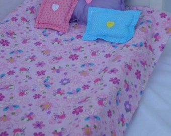 """18 Inch Doll Bedding/Bugs, Bees, Flowers, Pink, Blue, Purple, Yellow Comforter with 3 Matching Pillows, Fits 12"""" X 21"""" Doll Bed"""