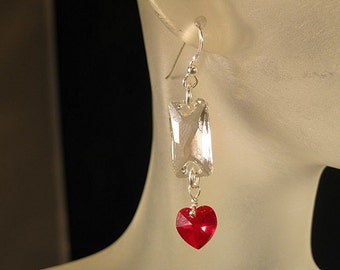 Red and crystal heart earrings