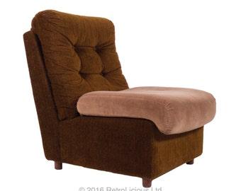 Retro 60's Brown Corduroy Chair Armchair Mid Century Lounge