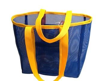 Mesh Bag, Heavy Duty, Blue w/ Yellow Handles - Seriously Heavy Mesh!