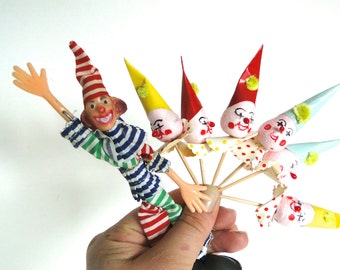 Vintage Clown Cake or Cupcake Toppers by Deco's / Party Decorations / Novelty