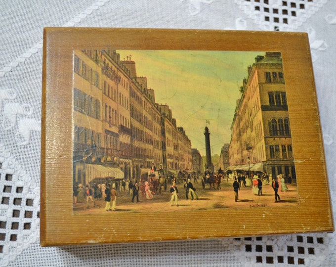 Vintage Wooden Box with French Scene Trinket Jewelry Box Keepsake Dovetail Corners  PanchosPorch