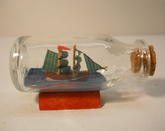 Vintage Small Glass Ship in the Bottle with Cork n152