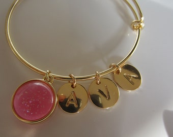 Personalize your name - adjustable gold plated bracelet