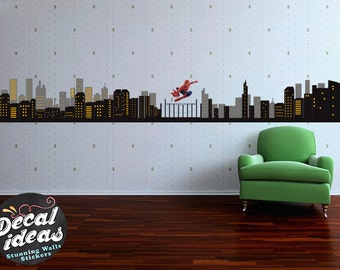Spiderman Wall Decal Etsy - Superhero wall decals for kids rooms
