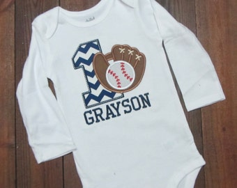 Baseball first  Birthday Shirt, baseball birthday shirt , first birthday baseball applique shirt