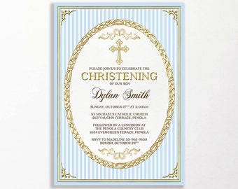Boys Christening Invitation Blue Gold Printable Baptism Naming Ceremony Naming Day Cross Stripe Boy Ornate Elegant Communion Confirmation
