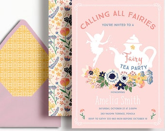 Fairy Tea Party Invitation Fairy Fairies Girls Birthday Floral Flowers Pink Tea Pot Folk Yellow Printable 1st 2nd 3rd 4th 5th 6th 7th 8th