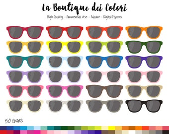 50 Rainbow Sunglasses Clip art, Colorful Digital Graphics PNG, Travel, sunny holiday, shades Clipart, Planner Stickers Commercial Use