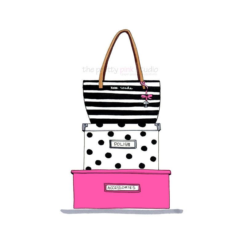 Fashion illustration Kate Spade inspired Kate Spade purse