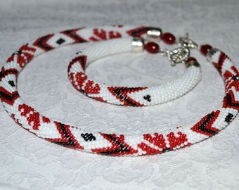 Set Crochet necklace and bracelet. Seed bead rope Beaded crochet rope Beaded Crochet necklace