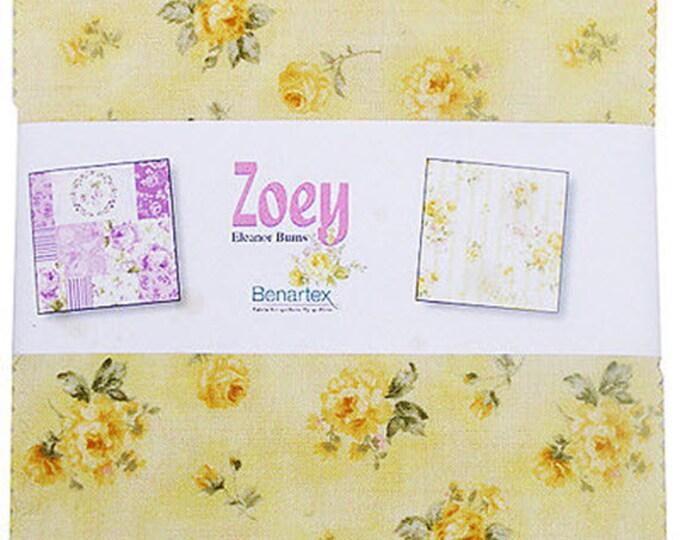 "Zoey Charm Pack - (42) 5"" X 5"" Squares - Romantic Floral Cotton Quilt Fabric - Eleanor Burns for Benartex - (W3516)"