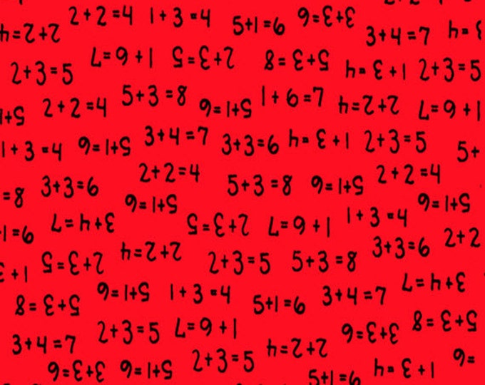 One Yard Learning is Fun! - Numbers Toss in Red - Cotton Quilt Fabric - by Kimberly Montgomery for Quilting Treasures - 23453-R (W3180)