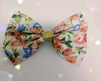 Blue and Red Roses Flowers with Golden Ribbon Hair Bow Hair Clip