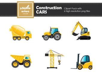 Construction Cars Clipart Set