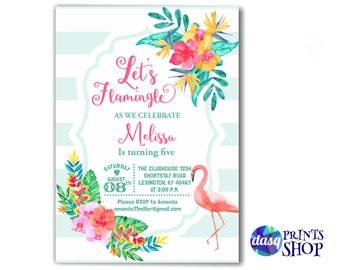 Let's Flamingle - Flamingo Invitation  - tropical birthday  - Summer Birthday Invitation