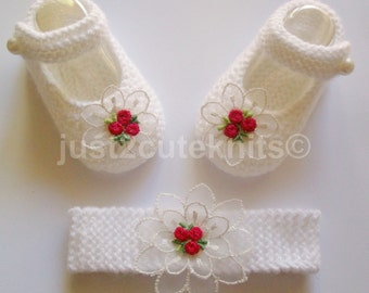 Hand knitted Baby Girls Mary Jane Booties and Matching Headband (ONLY SET AVAILABLE)