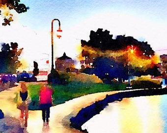 Walkers on Lake Merritt Watercolor Print