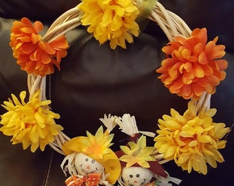 Fall Harvest Wicker Wreath