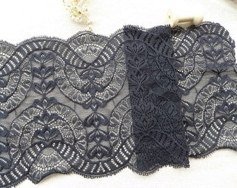 """6.9"""" wide Black Elastic Stretch Lace Trim for Headbands, Lingerie, Table Runner, Home Decor"""