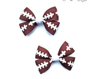 Football Hair Bows, Football Hair Clips, Football Baby, Football Baby Bows, Football Girl, Football Bows, Pigtail Bows, Pigtail Pairs