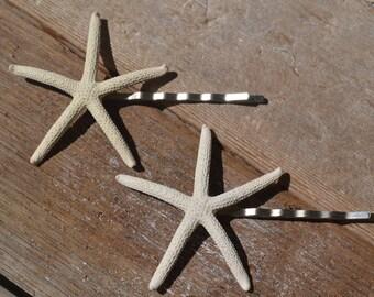 White Finger Starfish Hair Pins,  Beach Accessories, Wedding Hair Pins | 2 Piece Set
