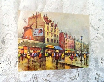 MOULIN ROUGE by ROCCO- Vintage Art- Arthur A. Kaplan Co. Inc.- No. J3- Retro Paperboard Print- Ready to Frame- Street Scene-Vibrant Colors