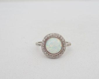 Vintage Sterling Silver White Opal & White Topaz Halo Ring Size 7
