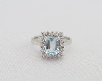 Vintage Sterling Silver Aquamarine & White Topaz Halo Ring Size 8