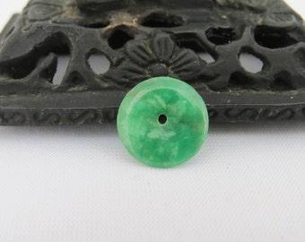 Vintage Emerald Green Jade Doughnut Jadeite Loose Gemstones Pendant
