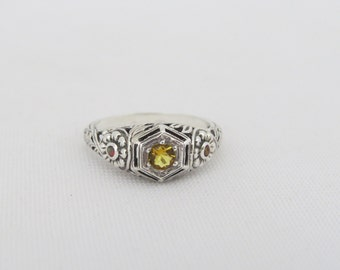 Vintage Sterling Silver Natural Citrine & Orange Opal Ring Size 7