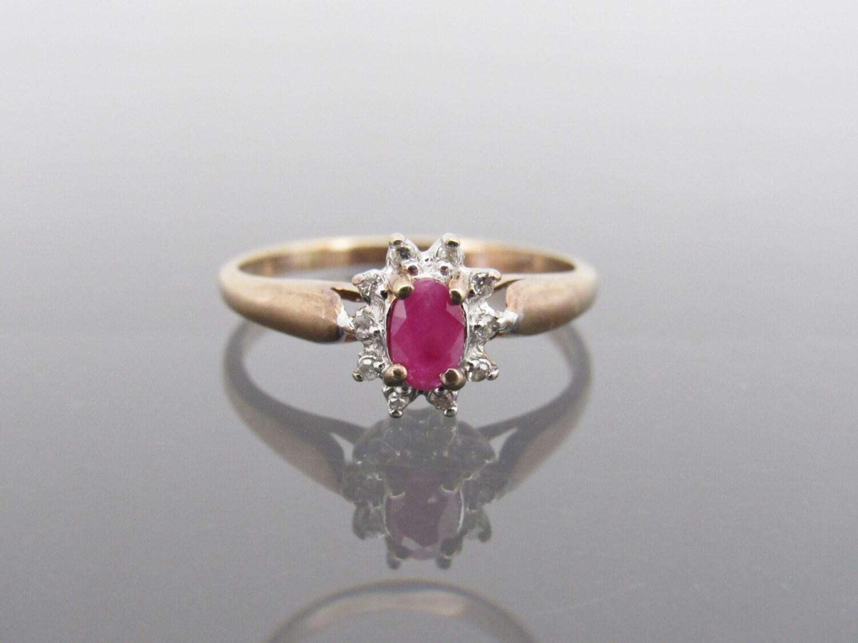 Vintage 10K Solid Rose Gold & White Gold Genuine Ruby Diamond