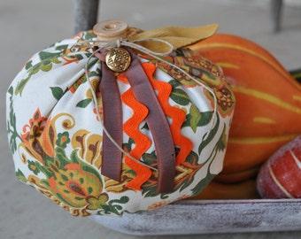 Funky 70s Fabric Pumpkin - Recycled fabric pumpkins -upcycled vintage fabrics -Fall Decor -Vintage Pumpkins- Boho Pumpkins