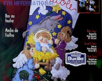 "Bucilla Baby Jesus ~ 18"" Felt Christmas Stocking Kit #84584 Manger Nativity DIY"