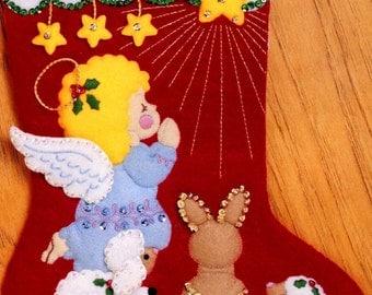 "DIY Bucilla Littlest Angel ~ 15"" Felt Christmas Stocking Kit #33094, Animals, Star"