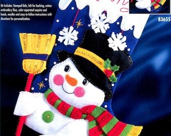 "Bucilla Jolly Snowman ~ 18"" Felt Christmas Stocking Kit #83655, Frosty, Broom DIY"