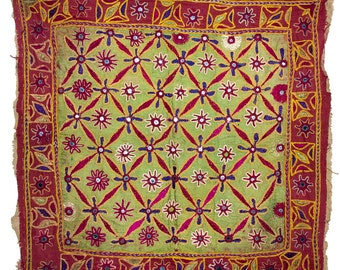 VINTAGE TEXTILE - Vintage Silk Chakla in flower design on green and red silk.