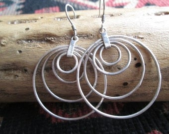 Sterling Four Hoop Earrings