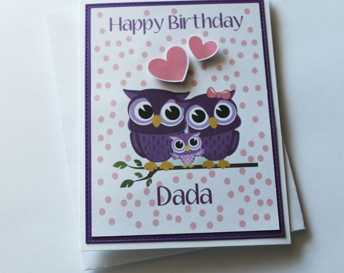 Birthday Wish Cards for Dad, Owl Family Birthday Cards, Happy Birthday Dada, Birthday Cards for Men