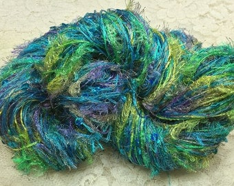 Art yarn 2 strand sequins 75 yds novelty scarf yarn azure blues greens turquoise sequins