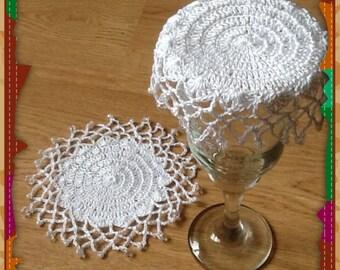 Pair of Handmade Beaded Glass/jug covers/ Doileys