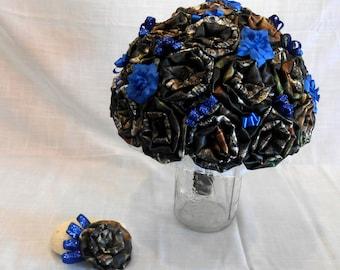 Mossy Oak Camo, Wedding Bouquet, Bridal Bouquet, Keepsake Bouquet, Fabric Bouquet, Camo Wedding, Blue Bouquet,  Mossy Oak Bouquet,