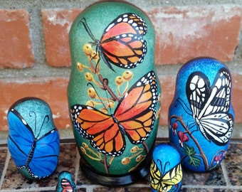 Butterflies on Five Russian Nesting Dolls. Small. Hand Painted.