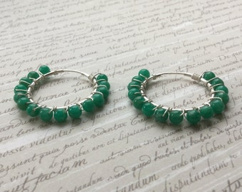 Amazonite Sterling Silver Hoops