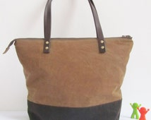 waxed cotton tote bag, diaper bag waxed canvas, waxed canvas shoulder bag, etsyirelandteam, handmade, leather strap, waterproof, laptop bag