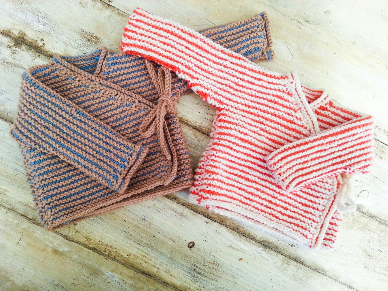 Knitting Pattern For Kimono Wrap : KNITTING PATTERN, Baby Wrap Cardigan, Baby Sweater, 7 Sizes, One Piece Baby T...