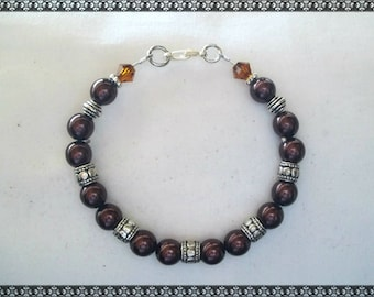 brown bracelet, dark brown bracelet, pearl bracelet, brown